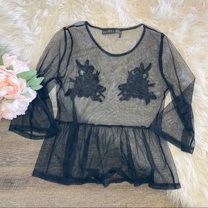 Anthropologie Black Sheer Floral Blouse